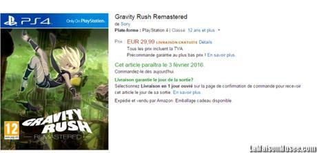 Prix conseille Gravity Rush PS4