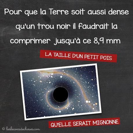 La Terre vs. le petit poids (rayon de Schwarzschild)