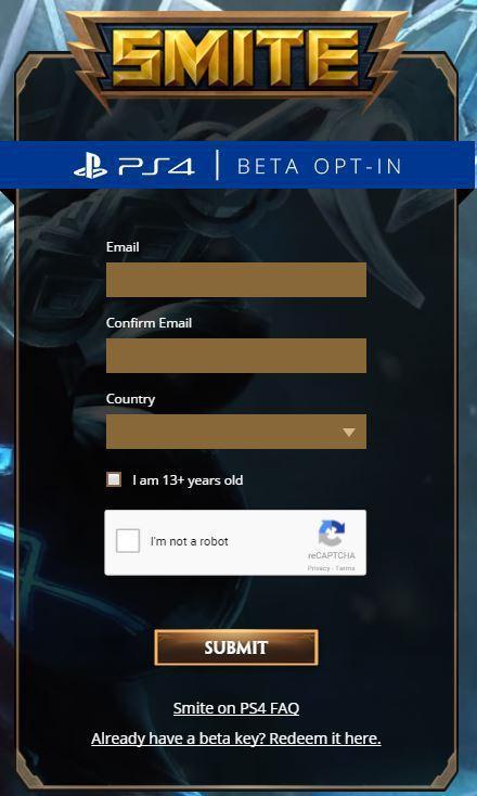 Smite sur PS4 inscription beta fermée