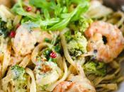 Linguines brocolis crevettes épicées