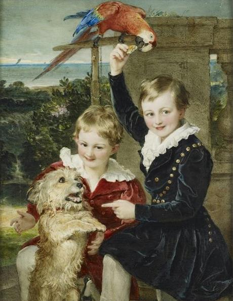 1839 Sir William Charles Ross, Prince Ernst and Prince Edward of Leiningen with Islay and a Macaw The Royal Collection Trust London