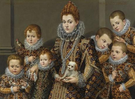 1604 Lavinia Fontana (1552-1614)  Portrait of Bianca Degli Utili Maselli with Six of Her Children collpart