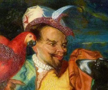 F Eugene François Deveria Le fou du Roi au perroquet aquarelle sur papier Academia Fine Art, Monaco detail