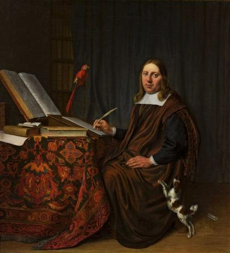 G 1663 Hendrick Martensz. Sorgh Portrait of a man writing at a table Scholar in his study, National Museum, Warsaw, Poland