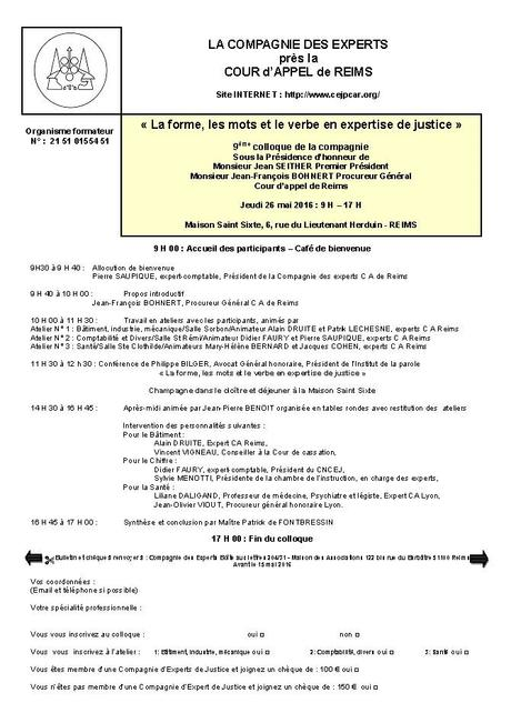 Bulletin d'inscription congrès Reims