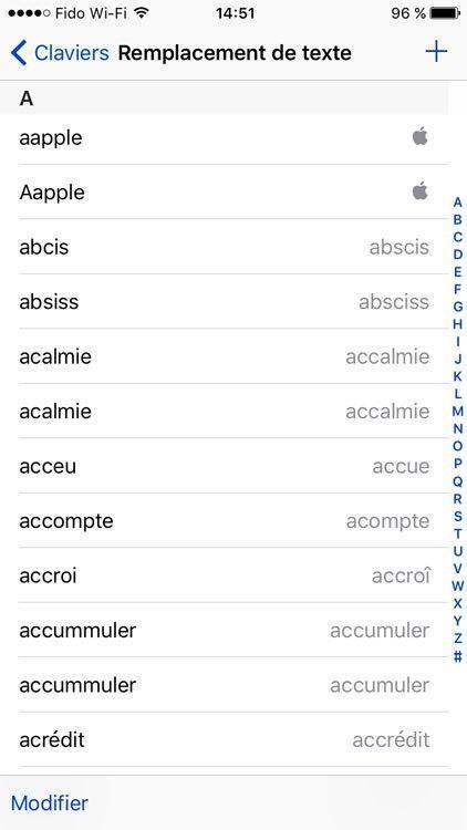 Astuce iPhone: comment réinitialiser le dictionnaire