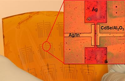 A nanocrystal-ink printed transistor on a flexible backing