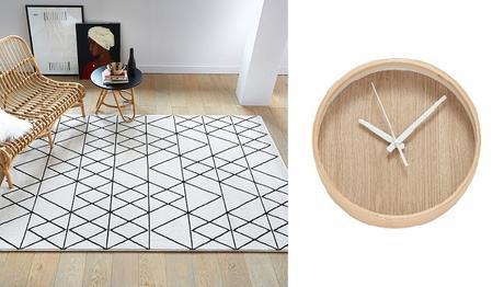 inspirations décoration intérieure tapis horloge bois