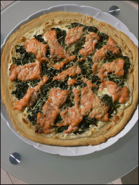 pizza saumon épinard