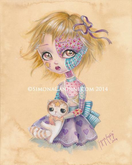Little Stars à tirage limité signé numéroté pop lowbrow de Simona Candini Broken Doll Patchwork surréaliste gros yeux art