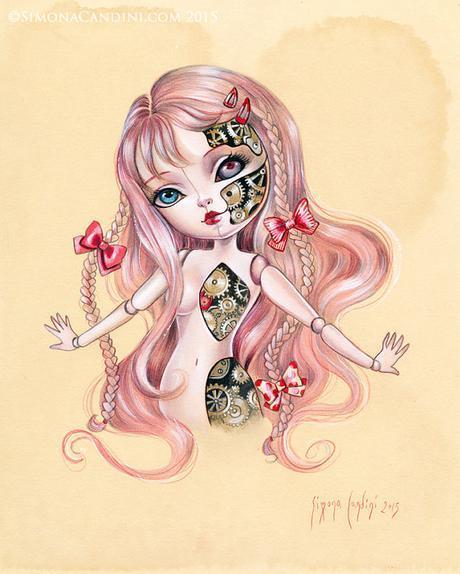 Automate M.I.A 0,0 à tirage limitée signée numérotée effrayant mignon fantasme de Simona Candini Art Big Eyes Lowbrow Pop surréaliste Steampunk poupée