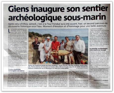 Article Var Matin Inauguration sentier archeologique sous-marin Tour Fondue