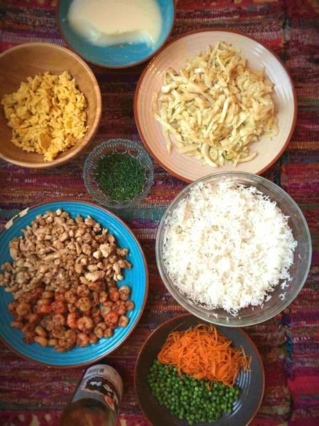 Tous les ingrédients pour le riz frit