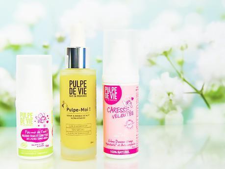 Routine de soin visage naturel et bio Pulpe de Vie - Contour yeux et masque Fais-moi de l'oeil, Sérum Pulpe-Moi et Crème hydratante Caresse Veloutée