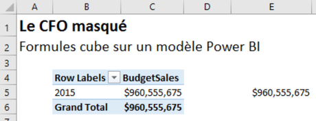 Analyze in Excel - Formule cube