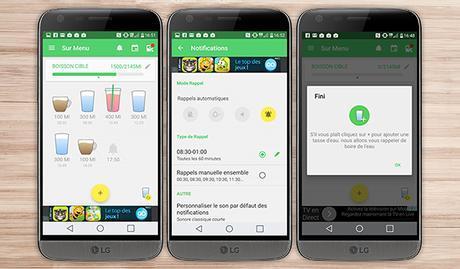 rappel consommation eau application android santé bien être LG