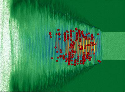 Image from a computer simulation showing an intense laser pulse as it travels in plastic