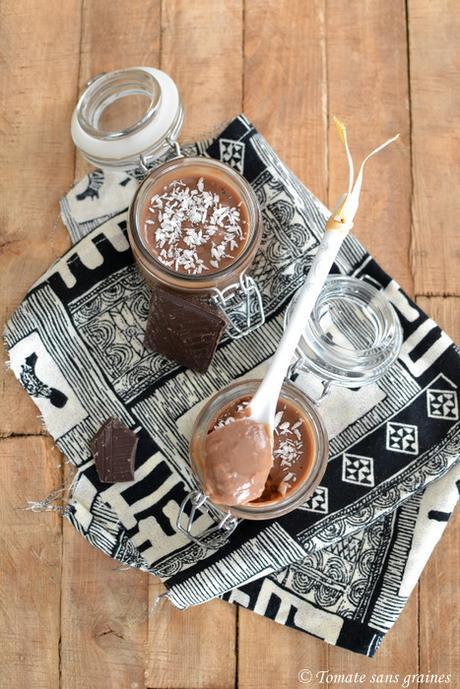 Crème chocolat et lait de coco végane