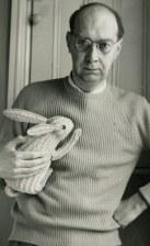 Philip Larkin with a toy rabbit in 1964 when the poet was 42