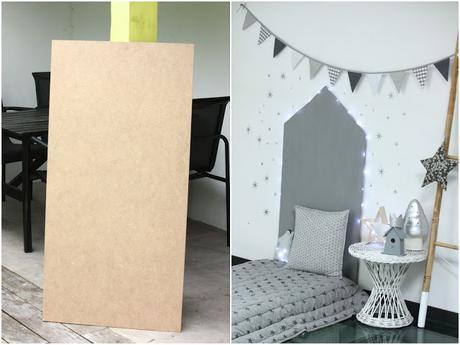diy t te de lit maison peinture effet paillet. Black Bedroom Furniture Sets. Home Design Ideas