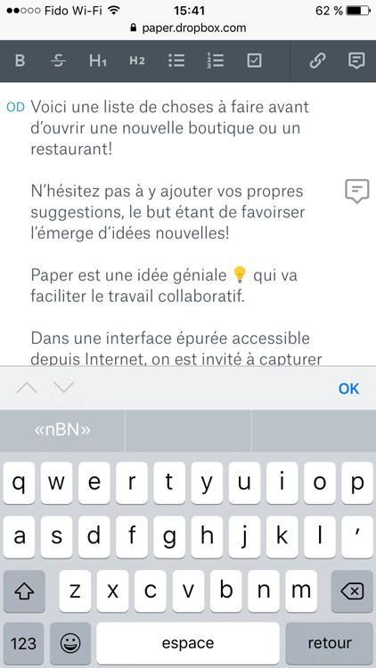 Dropbox Paper sous iOS 10: remplacer Evernote