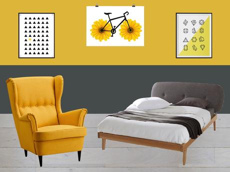 Inspiration : Chambre en jaune et gris