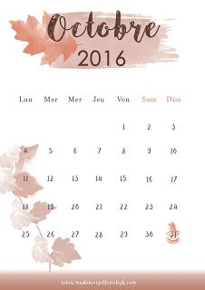 Le calendrier octobre 2016 à télécharger!