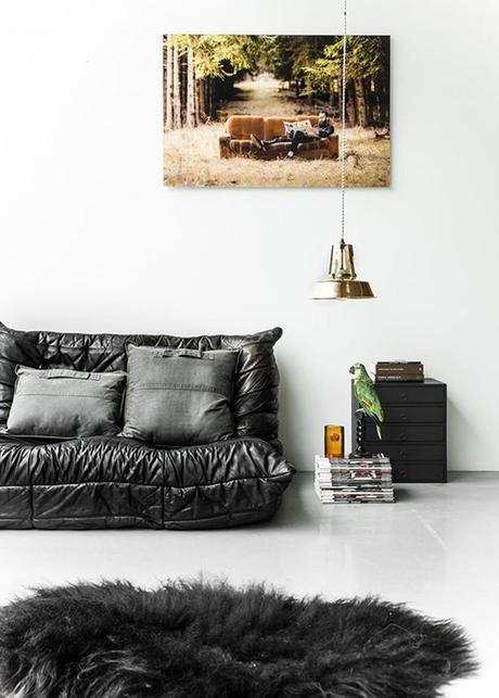 canape en cuir togo noir