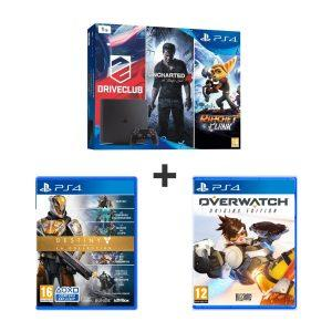 Bon Plan – Console PS4 Slim 1 To + DriveClub + Uncharted 4 + Ratchet and Clank + Destiny la Collection + Overwatch à 369.99€