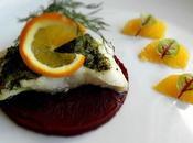 Pavé cabillaud beurre d'agrumes aneth crème carotte pourpre orange gingembre