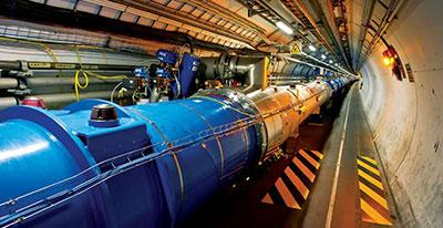 Photograph of a section of the Large Hadron Collider