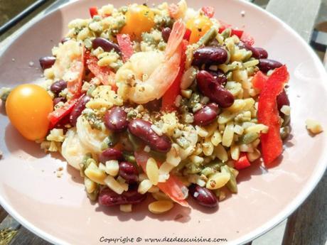 recette facile et rapide salade de pates haricots rouges crevettes