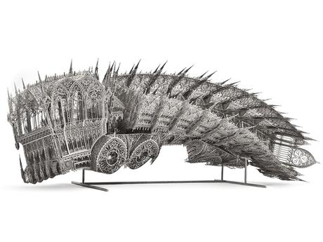 Twisted Dump Truck (scale model), 2011   chemically nickeled, laser-cut stainless steel with glass pearl finish  200 x 70 x 80 cm
