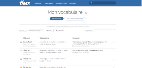 Liste de vocabulaire sur Fleex