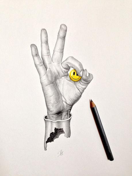 Illustration au crayon à papier signée Audrey Pol (artiste Microkosm)