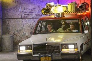 Ghostbusters Abby (Melissa McCarthy), Patty (Leslie Jones) and Holtzmann (Kate McKinnon) in the Ecto-1 in Columbia Pictures' GHOSTBUSTERS.