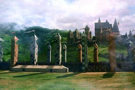 Vue du terrain de Quidditch de Poudlard