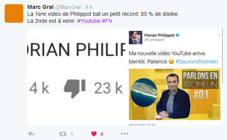 Philippot rejeté à 80 % sur You Tube