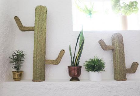 cactus en paille - deco bohème