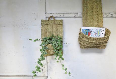 porte plantes en paille deco