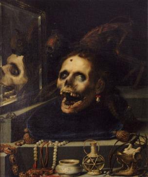 Jacopo Ligozzi, Vanitas verso of female portrait, 1604, panel, private collection