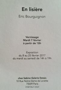 Galerie Guido Romero PIERINI chez Sabine Detais- exposition Eric Bourguignon « En lisière » 8/25 Février 2017