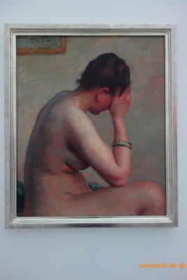 Claude Émile SCHUFFENECKER Nu accoudé - Femme nue assise sur un lit 1885 Huile sur toile Collection Würth - Inv. 14229