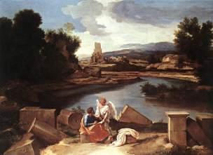 Poussin 1640, Paysage avec saint Matthieu et l'Ange,Berlin, Staatliche Museen.