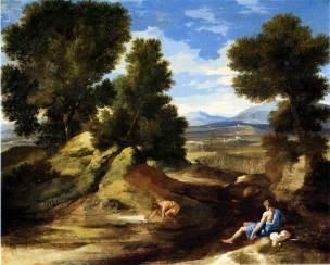 Poussin 1637-1638 Paysage_avec_homme_buvant_-__-_National_Gallery_London