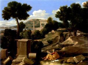 Poussin 1640 Paysage_avec_saint_Jean_à_Patmos_-_Chicago_Art_Institute
