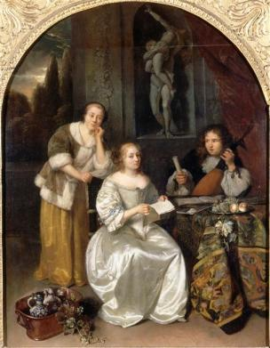 Netscher la_lecon_de_chant 1664 Louvre