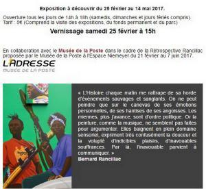 Maison TRIOLET ARAGON  exposition  Bernard RANCILLAC -25 Février au 14 Mai 2017