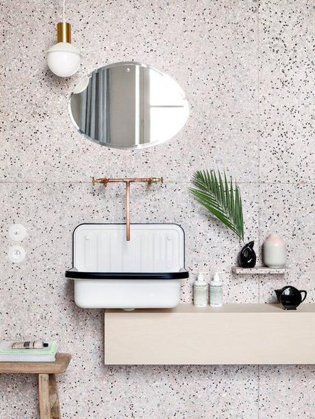 salle de bain retro vintage minimaliste terrazzo granito