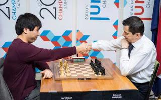 Wesley So et Alex Onischuk en départage pour le titre de champion d'échecs US 2017 - Photo © site officiel